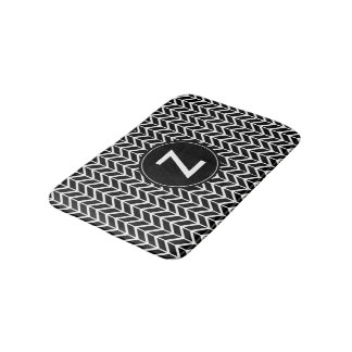 Black & White Chevron Pattern Custom Monogram Bath Mat