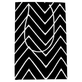 Black White Chevron Pattern Medium Gift Bag