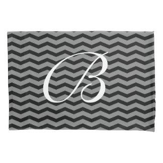 Black & white chevron pattern monogram pillowcase