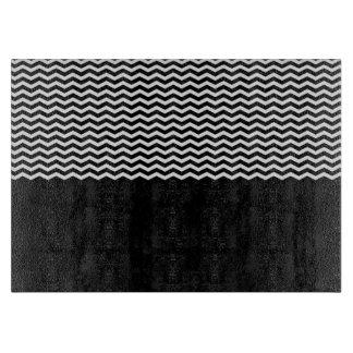 Black White Chevron Pattern Striped Texture Cutting Board