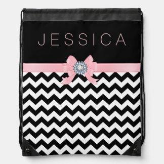 Black & White Chevron Pattern With Pink Ribbon Drawstring Bag