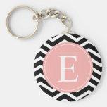 Black White Chevron Peach Monogram Basic Round Button Key Ring