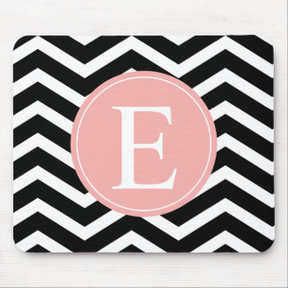 Black White Chevron Peach Monogram Mouse Pad