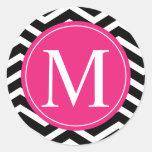 Black White Chevron Pink Monogram Round Sticker