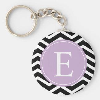 Black White Chevron Purple Monogram Basic Round Button Key Ring