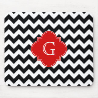 Black White Chevron Red Quatrefoil Monogram Mouse Pad