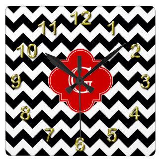 Black White Chevron Red Quatrefoil Monogram Wallclock