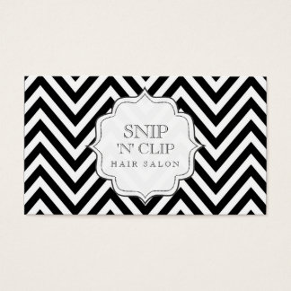 Black & White Chevron Stripes Hair Stylist Cards