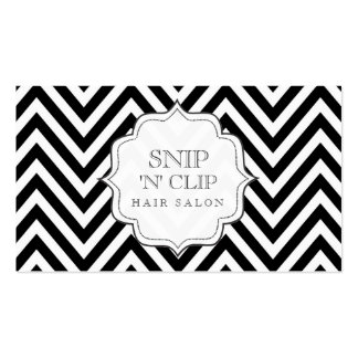 Black & White Chevron Stripes Hair Stylist Cards Pack Of Standard Business Cards