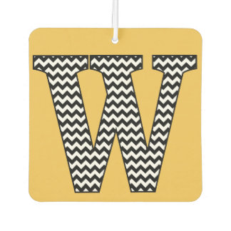 "Black & White Chevron ""W"" Monogram Air Freshener"