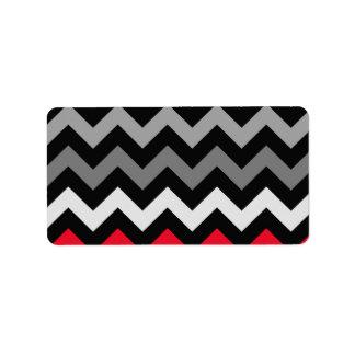 Black & White Chevron with Red Stripe Address Label