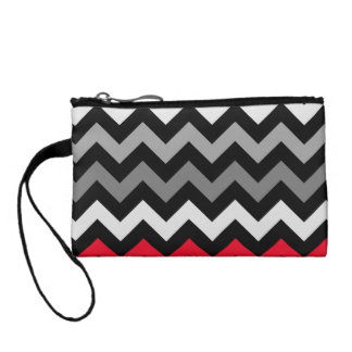 Black & White Chevron with Red Stripe Coin Wallet
