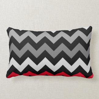 Black & White Chevron with Red Stripe Throw Pillows