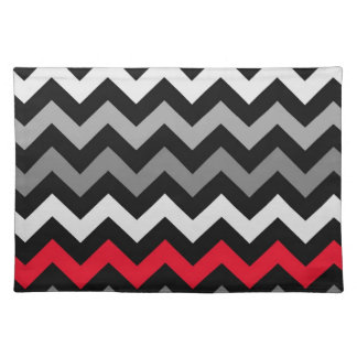 Black White Chevron with Red Stripe Place Mats
