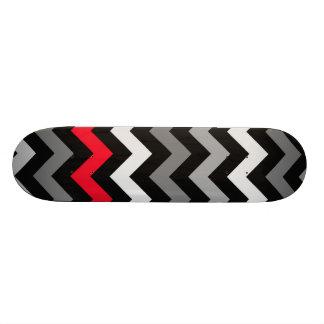 Black White Chevron with Red Stripe Skate Boards