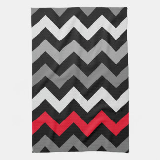 Black & White Chevron with Red Stripe Tea Towel