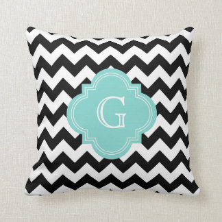 Black White Chevron Zig-Zag Turquoise Monogram Cushion
