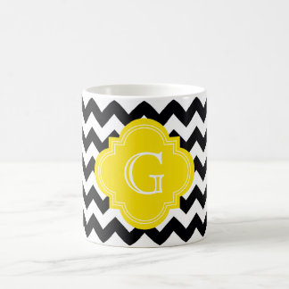 Black White Chevron Zig-Zag Yellow Monogram Coffee Mug