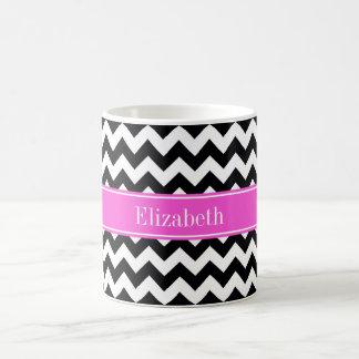 Black White Chevron ZigZag Hot Pink Name Monogram Basic White Mug