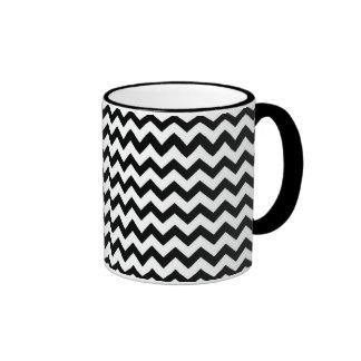 Black White Chevrons Ringer Mug