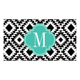 Black & White Chic Aztec Tribal Monogrammed Business Cards