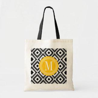 Black & White Chic Aztec Tribal Monogrammed Tote Bag