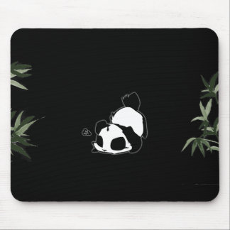 Black & White Chinese Panda - Black Mouse Mat