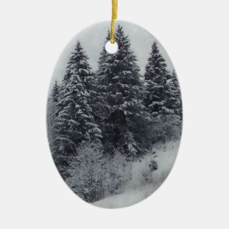 Black & White Christmas Decoration Ceramic Oval Decoration