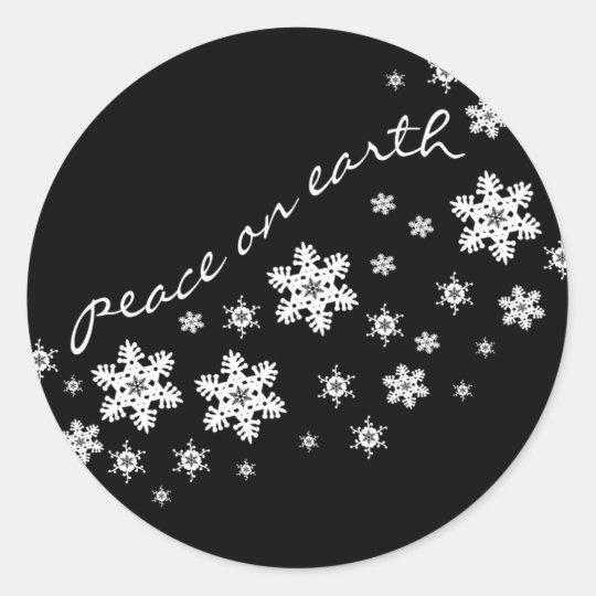 Black & White Christmas Envelope Closure Sticker