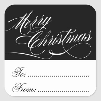 BLACK WHITE CHRISTMAS GIFT TAG STICKERS