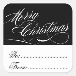 BLACK WHITE CHRISTMAS GIFT TAG STICKERS