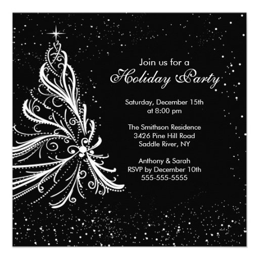 Black White Christmas Holiday Party Invitation