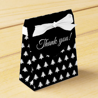Black/White Christmas Party Favor Tree Pattern Favour Box
