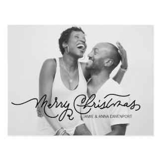 Black & White Christmas Postcard Calligraphy