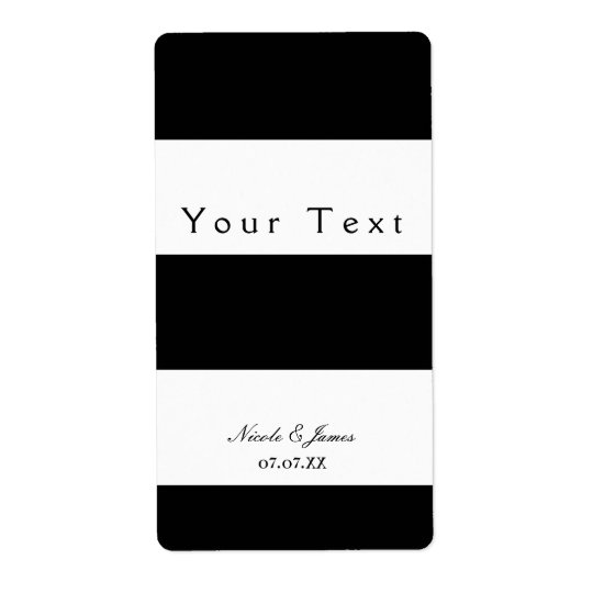 Black & White Chunky Stripes Chic Wine Label Shipping Label