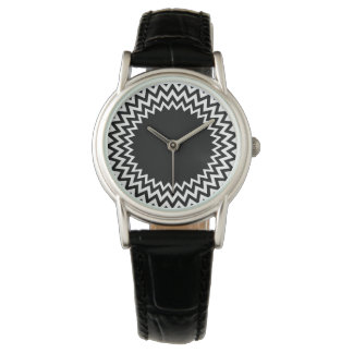 Black White Circle Chevron Watch