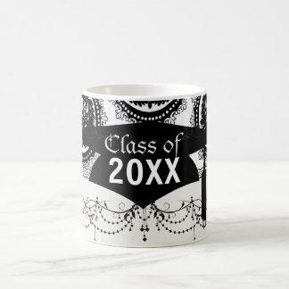 black white circle crest damask design graduation basic white mug