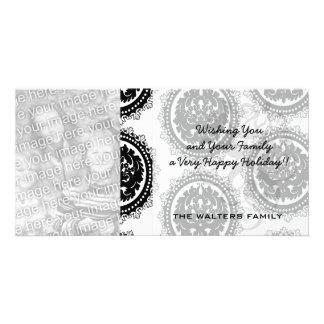 black white circle crest damask design picture card