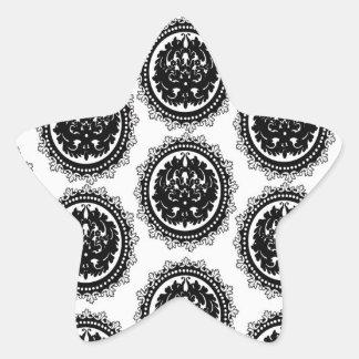 black white circle crest damask design star sticker