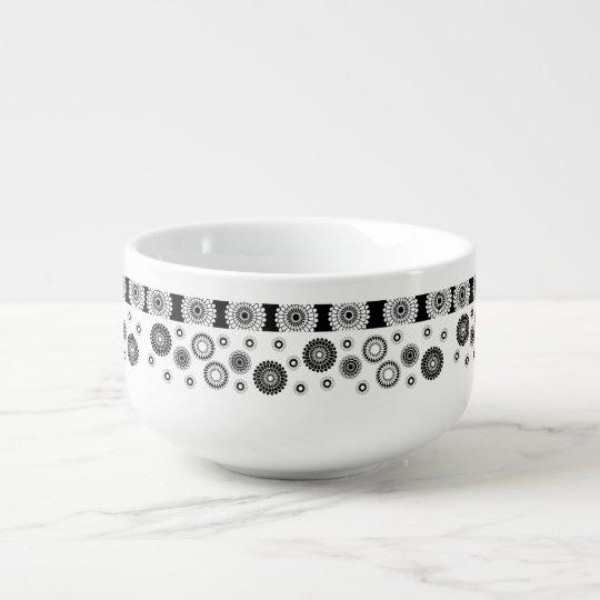 Black White Circle Pattern Soup Mug