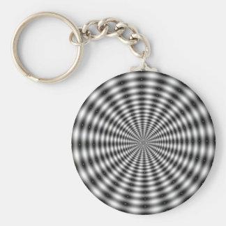 Black & White Circle Striped Optical Illusion Key Ring