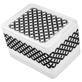 Black White Circles and Diamond Pattern Igloo Cooler