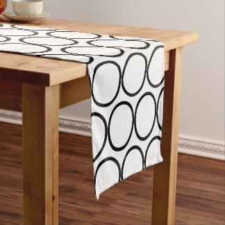 Black & White Circles Short Table Runner