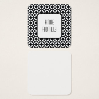Black & White Circular Retro Pattern Message Notes Square Business Card