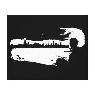 Black & White City Lookout - Canvas Canvas Print