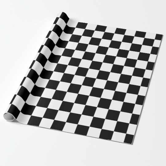 Black White Classic Chequered Chequered Flag Wrapping Paper