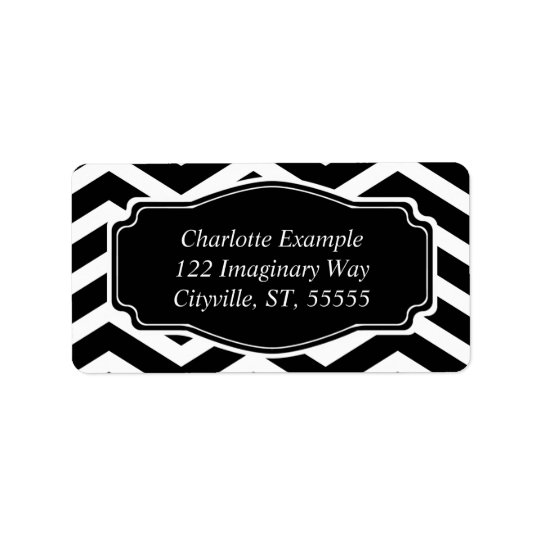 Black White Classic Chevron Personal Address Label