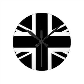 BLack & White Classic Union Jack British(UK) Flag Clocks