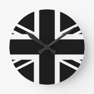 BLack & White Classic Union Jack British(UK) Flag Round Clock
