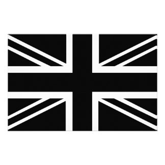 BLack & White Classic Union Jack British(UK) Flag Stationery